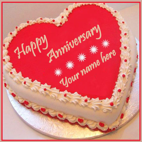 Red Heart Marriage Anniversary Cake With Name Edit