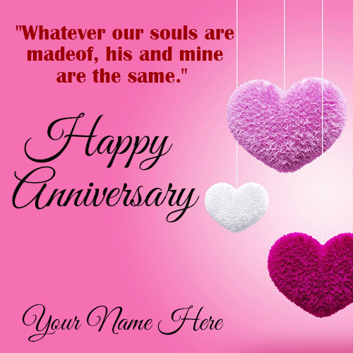 Romantic Happy Anniversary Wishes Card With Name