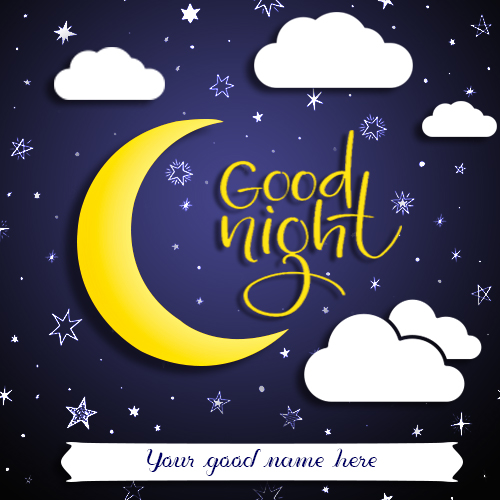 Write Name On Good Night Half Moon Image
