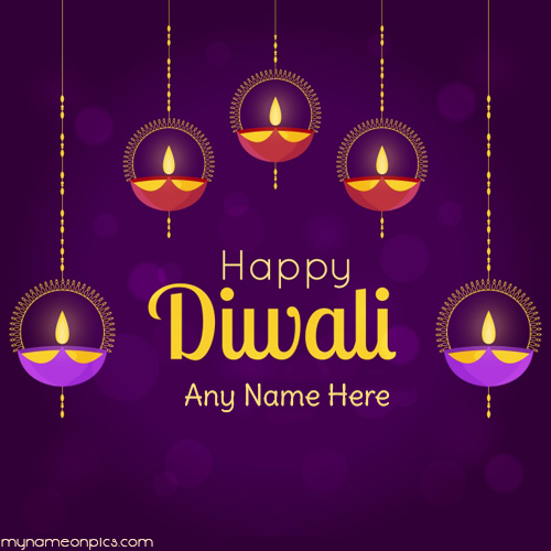 Happy Diwali Diya Greeting Card With Name