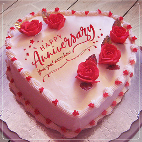 Heart Shaped Anniversary Cake With Name