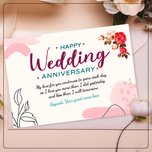 Happy Wedding Anniversary Greetings Card With Name