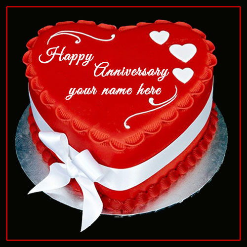 Red Heart Marriage Anniversary Cake With Name and Photo