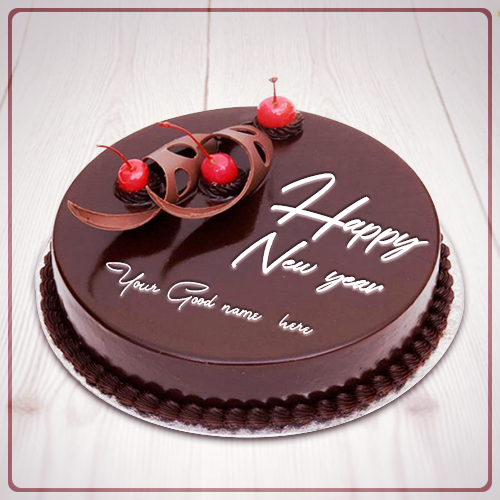 Happy New Year Cherry Cake Image With Name