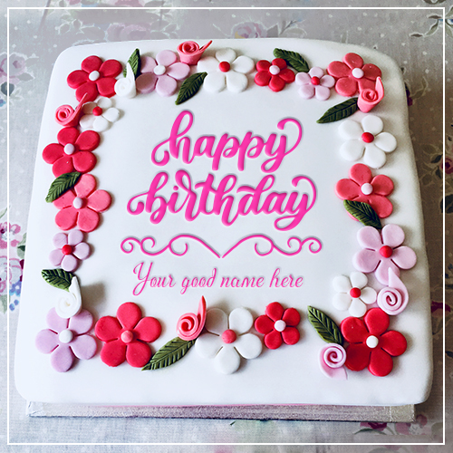 Write Name On Flower Birthday Cake Images