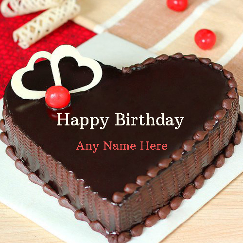 Write Name on Heart Birthday Cake