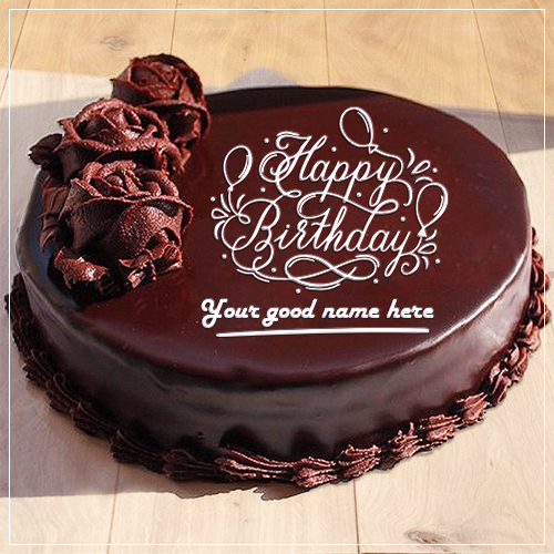 Write Name On Flower Chocolate Birthday Cake Image
