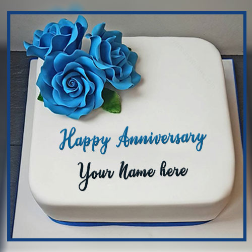 Blue Flowers Anniversary Cake Wishes With Name Edit
