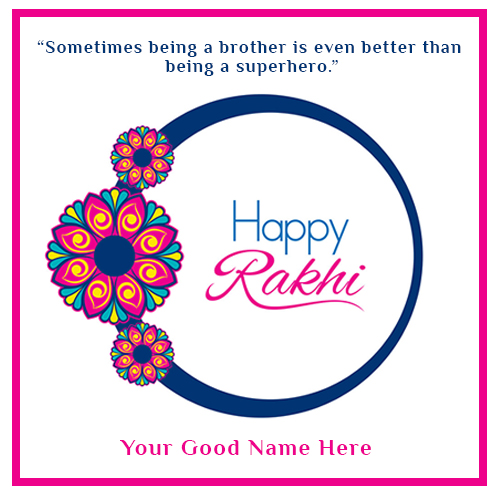 Write Name On Happy Raksha Bandhan Rakhi Card Image