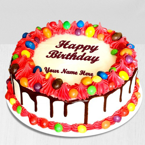 Write Name On Gems Chocolate Birthday Cake Online