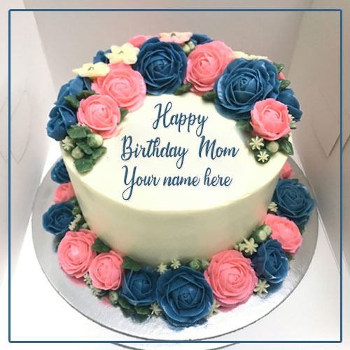 Happy Birthday Cake For Mom With Name and Photo Edit