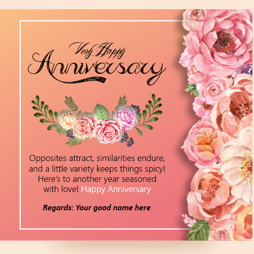 Special Wedding Anniversary Wishes Card Picture With Name