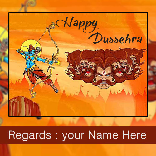 Write Name On 2019 Happy Dussehra Greetings Card Wishes
