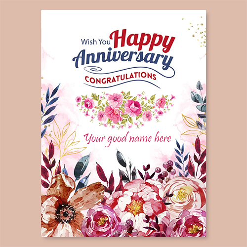 Beautiful Marriage Anniversary Wishes Card With Name