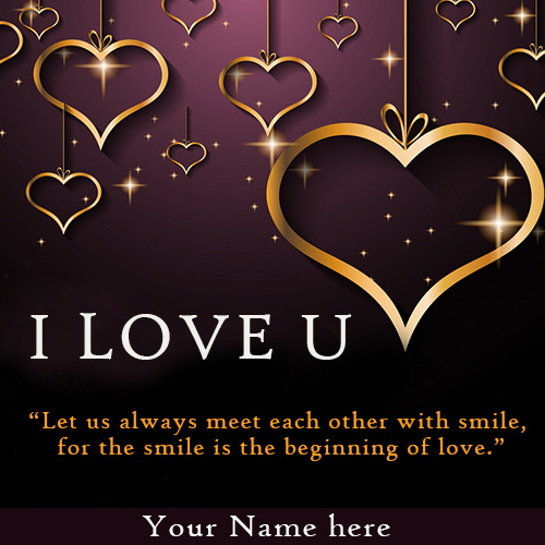 Write Name On I Love You Greetings Cards Images