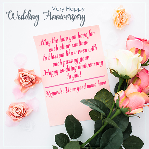 Wedding Anniversary Wishes Greetings Card With Name