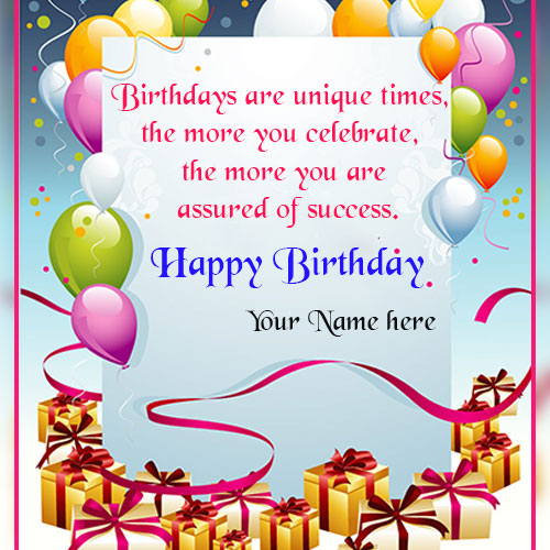Write Name on Birthday Colorful Balloons Wishes Greetings Card