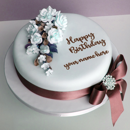 Birthday Delicious Flower Cake Image With Name
