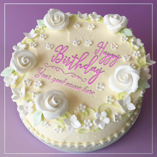 White Rose Birthday Cake For Girls