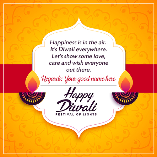 Write Name On Diwali Wishes Greetings Card With Name