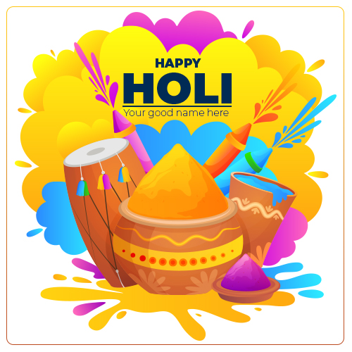 Beautiful Happy Holi Wishes Picture With Name