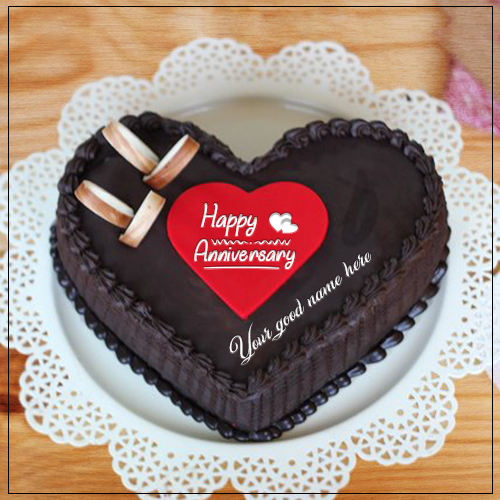 Chocolate Heart Anniversary  Cake With Name