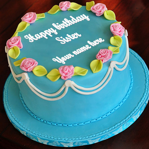 Write Name On Sister Happy Birthday Wishes Cake Picture