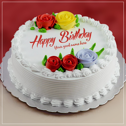 Red Rose Flower Birthday Cake Image With Name