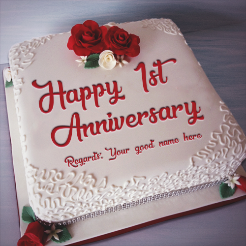 Happy 1st Anniversary Cake With Name