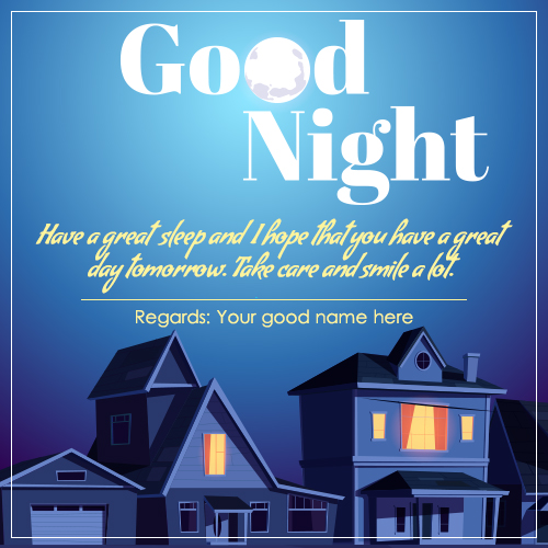 Write Name On Good Night Wishes Quotes Image