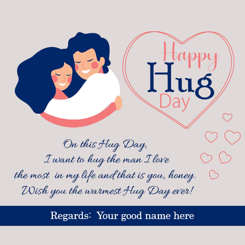 Cute Couple Hug Day Quotes Image With Name