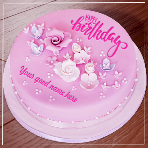 Sensational Pink Birthday Cake With Name Personalised Birthday Cards Epsylily Jamesorg