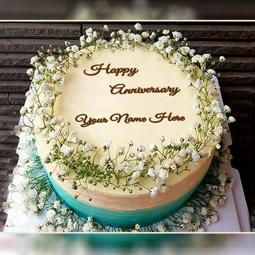 Marriage Anniversary Flower Cake With Name
