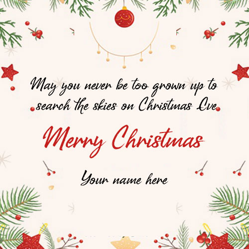 Make Personal Merry Christmas Wishes Card With Name