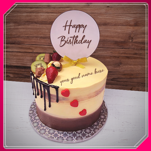 Write Name On Mix Fruit Birthday Cake