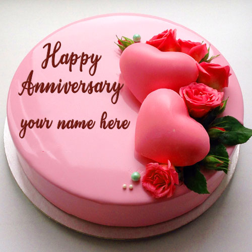 Beautiful Pink Rose Wedding Anniversary Cake Image With Name