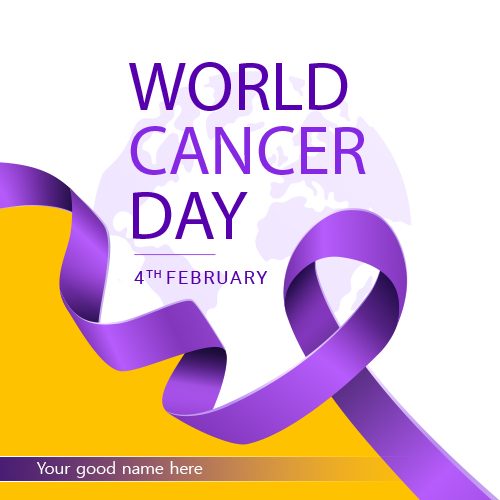 Write Name On World Cancer Day Wishes Greeting Card
