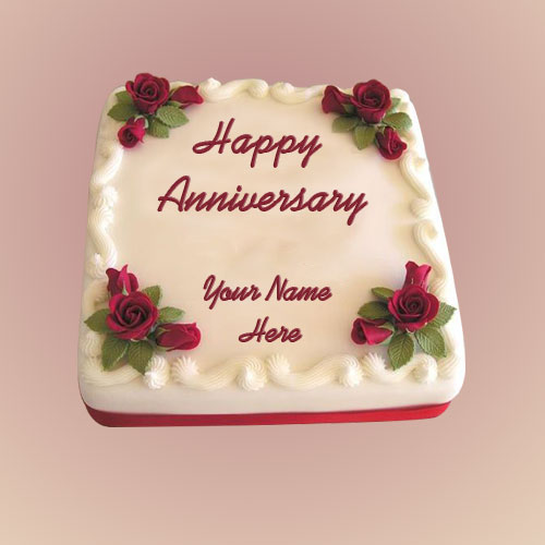 Happy Wedding Rose Anniversary Cake Image With Name