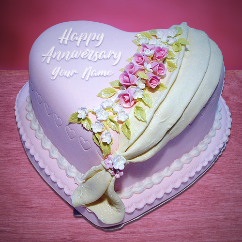 Write Name on Anniversary Cake Wishes
