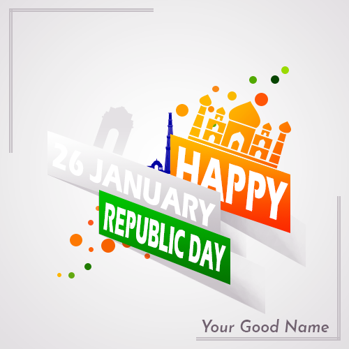 Happy 26 January Republic Day Image With Name