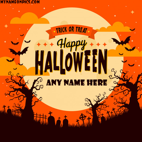 Happy Halloween Wishes Greeting Card With Name