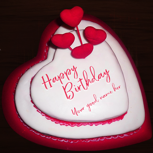 Heart Shaped Birthday Cake With Name