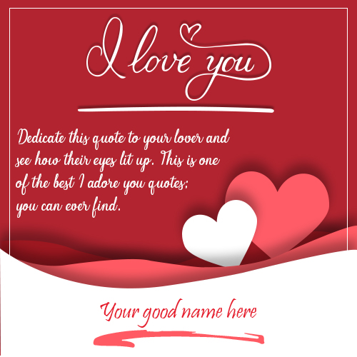 Write Name On I Love You Greeting Card