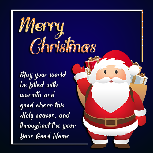 Santa Claus Christmas greeting Card Wallpaper With Name