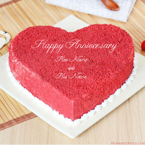 Anniversary Cake Benevolent Red Velvet With Name