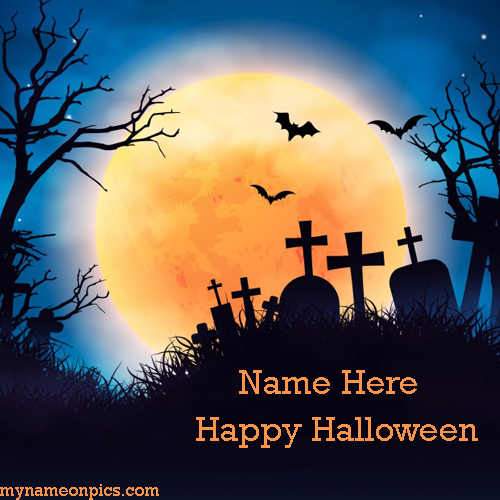 Write Name On Evil Halloween Pumpkin Picture
