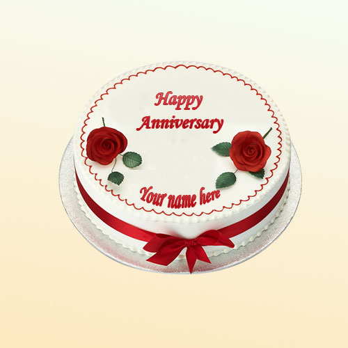 write name on wedding anniversary cake