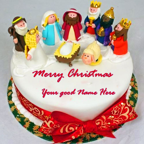Merry Christmas Cake With Name Edit