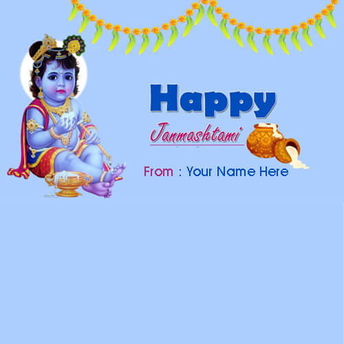 Write name on Lord Krishna janmashtami Wishes Pics With Name