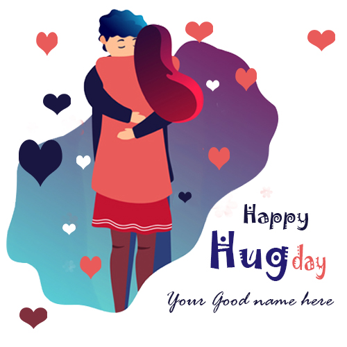 Romantic Couple Hug Day Images With Name